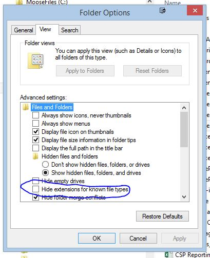 Hide extensions of known file types